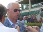 Todd Pletcher speaks with reporters following the Hal's Hope, Jan. 9, 2016-- photo by Barry Unterbrink