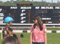 Trainer Kathleen  O'Connell and jockey Victor Lebron  at Tampa Bay Downs